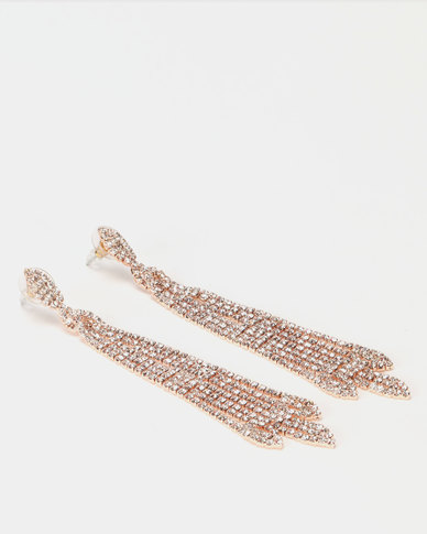 Lily & Rose Diamante Gold Strand Earrings Clear