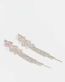 Lily & Rose Diamante Pointy Earrings Silver