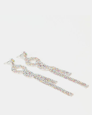 Lily & Rose Diamante Twisted Drop Earrings Silver