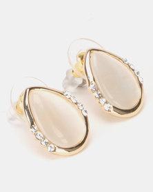 Lily & Rose Diamante Catseye Teardrop Stud Earrings Gold