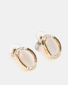 Lily & Rose Oval Catseye Stud Earrings Gold