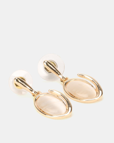 Lily & Rose Oval Catseye Drop Earrings Gold