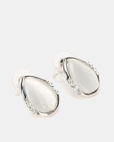 Lily & Rose Catseye Diamante Teardrop Stud Earrings White