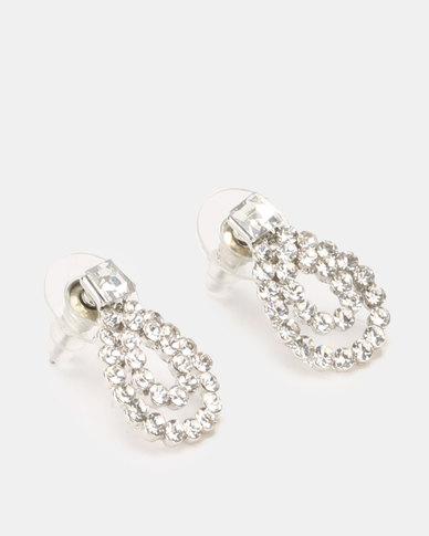 Lily & Rose Double Row Diamante Teardrop Stud Earrings Silver
