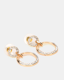 Lily & Rose Clear Diamante Double Circle Earrings Gold