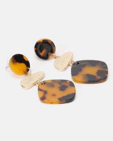 Lily & Rose Spotted 3 Drop Resin Earrings Brown