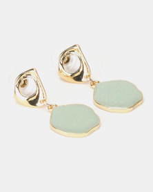 Lily & Rose Gold With Jade Stone Drop Earrings Mint