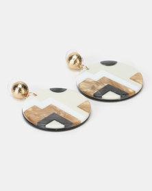 Lily & Rose Aztec Design Resin Circle Earrings Beige
