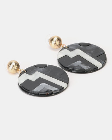 Lily & Rose Aztec Design Resin Circle Earrings Black