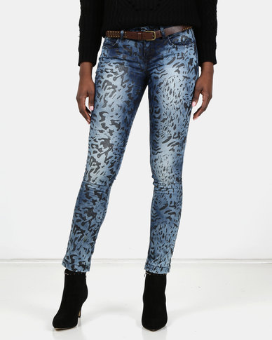 Utopia Blue Animal Printed Jeans With Belt