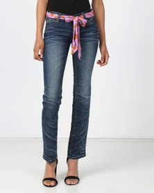 Utopia Flare Leg Jeans With Scarf Belt Blue