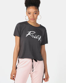 RVCA Inkwell Boxy Crop Charcoal Grey