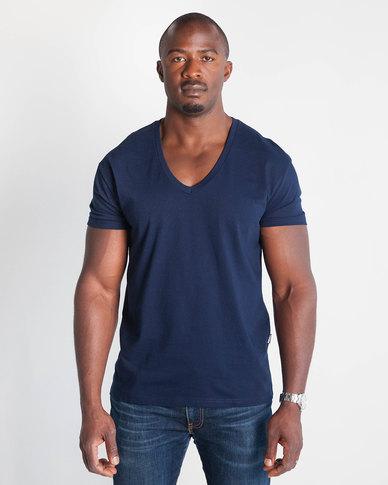 Emme Jeans Regular V-Neck T-Shirt Navy
