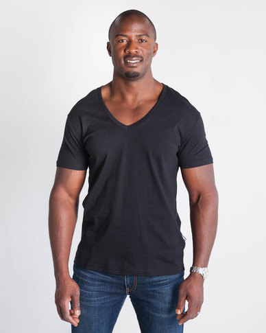 Emme Jeans Regular V-Neck T-Shirt Black
