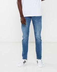 Crosshatch Light Wash Dapple Slim Fit Ripped Jeans Blue