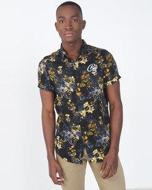 Crosshatch Eryngium Short Sleeve Floral Shirt Black