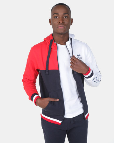Crosshatch Rhame Zip Through Blocked Hoodie Navy/Red