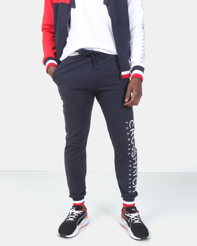 Crosshatch Websters Tipped Joggers Navy