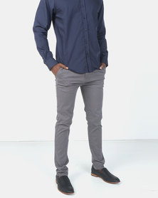 Crosshatch Kelso Stretch Slim Chinos Charcoal