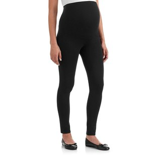 Overbelly Maternity Leggings with Elasticated Support Waistband - Black