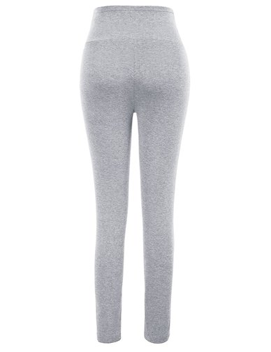 Overbelly Maternity Leggings with Elasticated Support Waistband - Melange Grey
