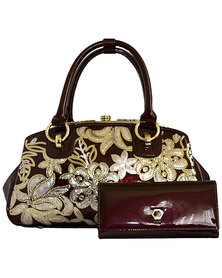 Fino Top Handle Patent Leather Elegant Handbag with Purse - Burgundy