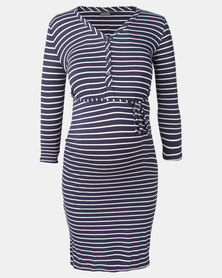 Cherry Melon Navy/White Stripe Feminine Henley Dress