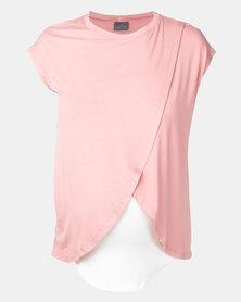 Cherry Melon Dusty Pink Overlay Feeding Top Short Sleeve