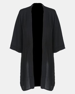 Cherry Melon Black Long Kimono
