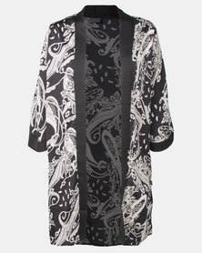 Cherry Melon Black/White Paisley Print Long Kimono