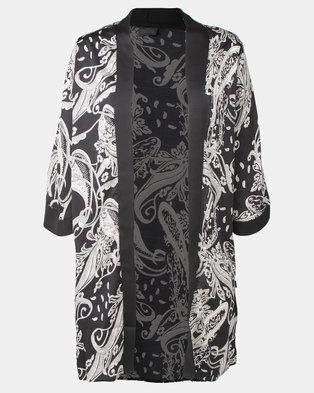 Cherry Melon Black/White Paisley Print Long Kimono