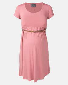 Cherry Melon Pearl Rose Belted Scoop-neck Short Sleeve Dress