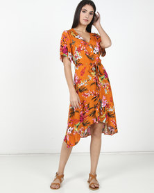 Lila Rose Print Button Up Midi Dress Orange