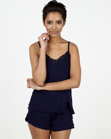 Lila Rose Cami And Short Set Viscose Navy