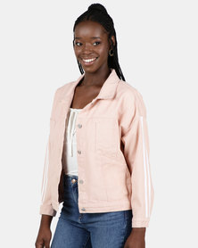 Utopia Pink Trucker Jacket With Side Stripes