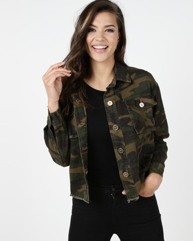 Utopia Oversized Trucker Jacket Camo Print