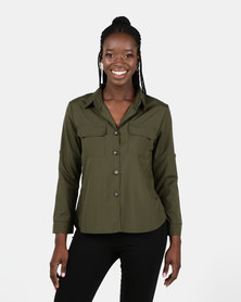Utopia Olive Utility Shirt With Roll Up Sleeve