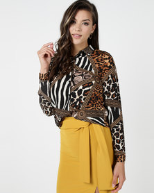 Utopia Blouse Neutral Animal Print