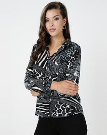 Utopia Blouse Greys Animal Print