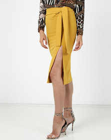 Utopia Pencil Skirt With Self Tie Mustard