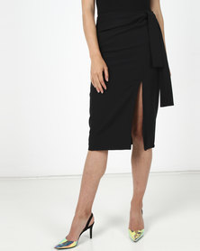 Utopia Pencil Skirt With Self Tie Black