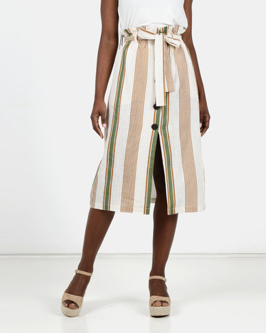 Utopia Striped Linen Look Button Through Skirt Multi