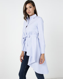 Utopia Aline Shirt With Self Tie Belt Blue