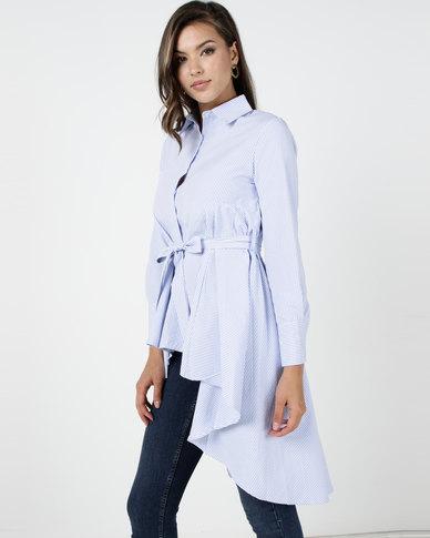 Utopia Aline Shirt With Self Tie Belt Blue