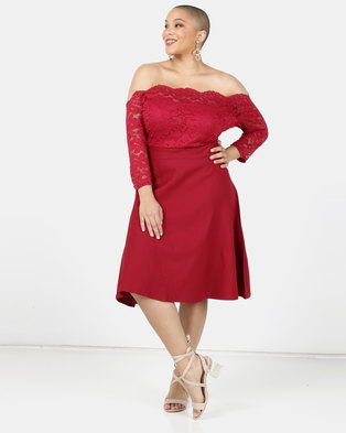 Utopia Plus Lace Bardot Fit And Flare Dress Red