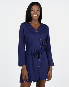 Utopia Button Through Wrap Dress Navy