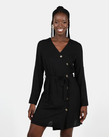 Utopia Button Through Wrap Dress Black