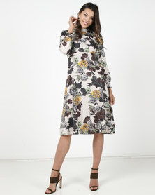 Utopia Retro Floral Midi Shirt Dress Multi