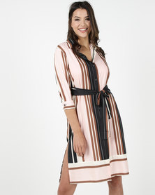 Utopia Stripe Midi Shirt Dress Multi
