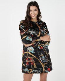 Utopia Chain Print Tunic Dress With Self Tie Black Based